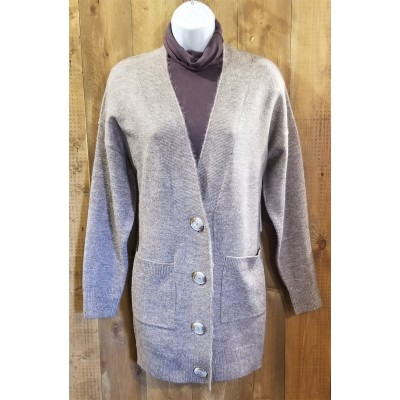 Cardigan taupe tricot bouton